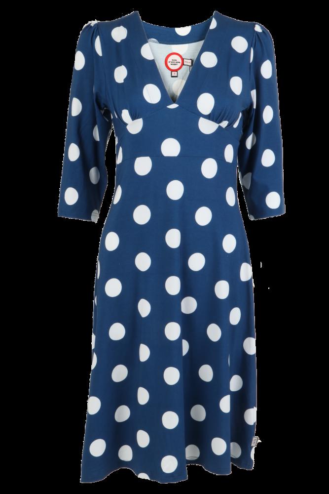 b943f3ed Blå og hvit polkadot kjole